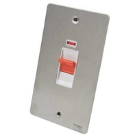 Flat Plate Stainless Steel 45A 2G SWITCH +N WHITE | LV0701.0089