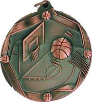 60mm Basketball Medallion (Antique Bronze)