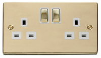 Click Deco Victorian Polished Brass with White Insert Twin switched Socket | LV0101.0157