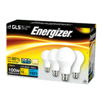 ENERGIZER 4 PACK LED 15W (100W) 1500 LUMEN BC GLS LAMP WARM WHITE