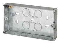 2 Gang 25mm deep Galvanised Steel K.O Box