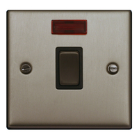 FEP Low Profile Satin Chrome 20amp DP Switch with Neon Black Insert Chrome Switch | LV0801.0008
