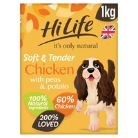 HiLife 'ION' Soft & Tender Complete Dog Chicken, Peas & Potato 1kg x 4
