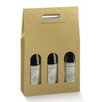 Gold Three Bottle Wine Box
