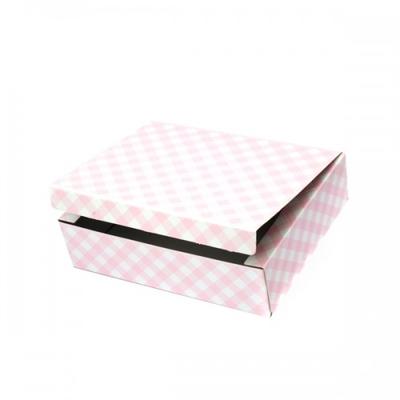 BOX  30X24X8CM LT.PINK CHECK