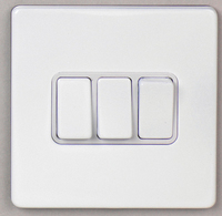 DETA Screwless 3 Gang Switch White Metal White | LV0201.0023