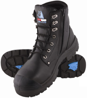 Steel Blue Argyle Lace Up/Zip Safety Boot with Bump Cap Black