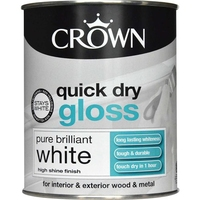 CROWN QUICK DRY GLOSS PAINT BRILLIANT WHITE 750 ML