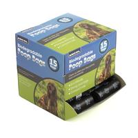 Ancol Biodegradable Poop Bags - 50 x 15 Bag Rolls Counter Dispenser Box x 1