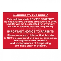 Warning to the Public & Parents Sign 600x400mm