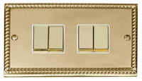Click Deco Georgian Cast Brass with White 4 Gang 2 Way 'Ingot' Switch | LV0101.0055