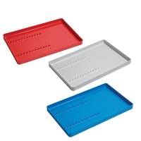 INSTRUMENT TRAYS PLASTIC RED WITH RACK