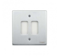 Schneider Ultimate Low Profile Grid Plate 2 gang Brushed Chrome | LV0701.1252