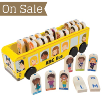 Wooden ABC Bus Roll-along sorting game