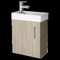 400mm Minimalist Compact Wll Hung Vanity Unit & Basin Oak