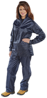 Click Two Piece Navy Nylon Rainsuit Set