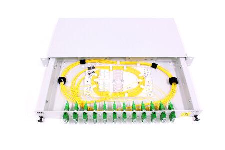 """ODF 19"""" 1U 24xSC/APC 8° (12xSC/APC8° DX) SM fully loaded (OS2"""