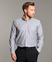 Disley Gents Silver Long Sleeve Oxford Shirt