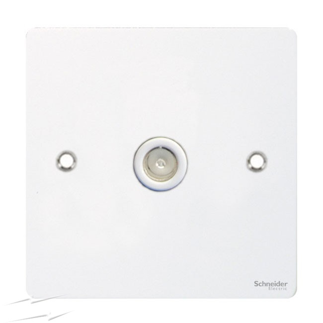 Flat Plate WH 1G COAXIAL Socket WHITE|LV0701 0560