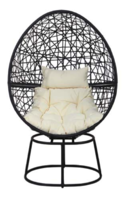 Swivel Egg Chair, Charcoal Rattan Ivory Cushion
