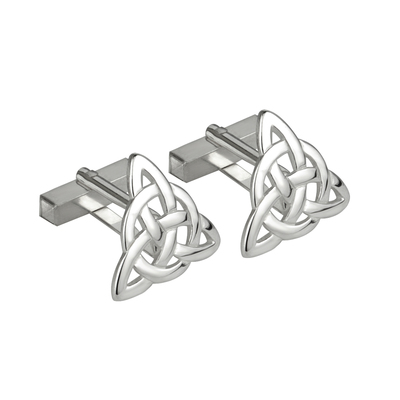 RHODIUM PLATED CELTIC KNOT CUFFLINKS (BOXED)