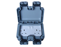 Eclipse IP65 Waterproof Socket 2 Gang Switched