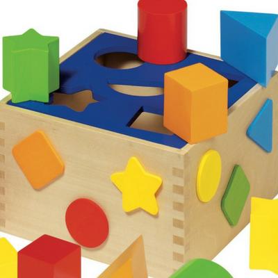 close-up image of shape sorting box