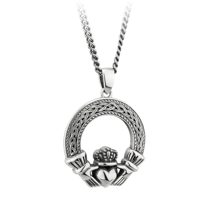 CELTIC SILVER OXIDISED CLADDAGH PENDANT (BOXED)