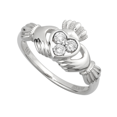 14KW DIAMOND CLADDAGH RING