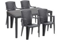 Rattan Effect Anthracite 4 Seater Set