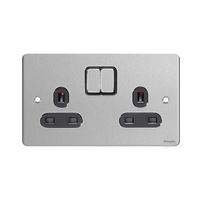 Flat Plate Stainless Steel 13A 2G SWTD SKT Black | LV0701.0104