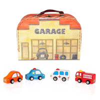Toy Garage Carry Case with Wooden Cars