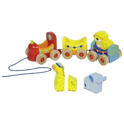 Wooden Pull along toy train with animals