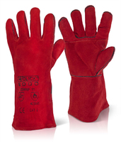 Click Leather Welders Gauntlet w/ Patch Palm - Red