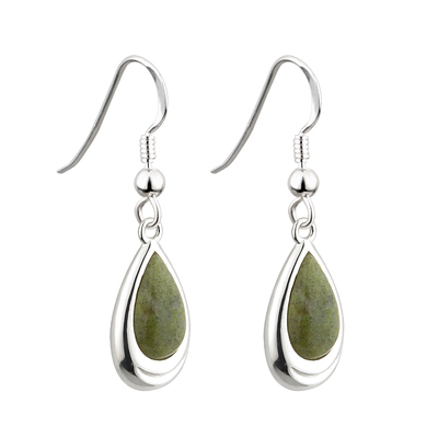 RHODIUM CONNEMARA MARBLE DROP EARRINGS