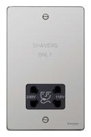 Schneider Ultimate Low Profile Shaver Socket Polished Chrome with Black Insert   | LV0701.0067