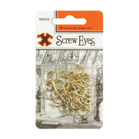 X Assorted Screw Eyes Brass Plated 24 Pack Blister