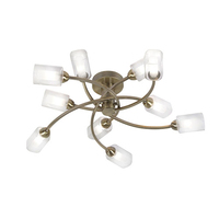 Ofira 10 Light Ceiling Fitting Antique Brass