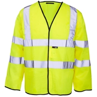 Supertouch Hi-Visibility Long Sleeved Vest, Velcro, Yellow