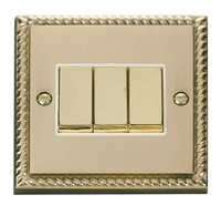 Click Deco Georgian Cast Brass with White Insert 3 Gang 2 Way 'Ingot' Switch | LV0101.0054