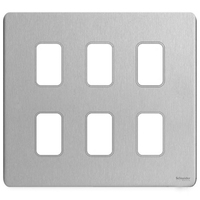 Schneider Ultimate Low Profile Grid Plate 6 gang Brushed Chrome | LV0701.1258