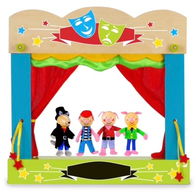 Three Little Pigs and a Big Bad Wolf finger puppets on a finger puppet theatre stage