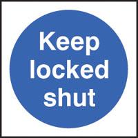 100 S/A labels 100x100mm keep locked shut