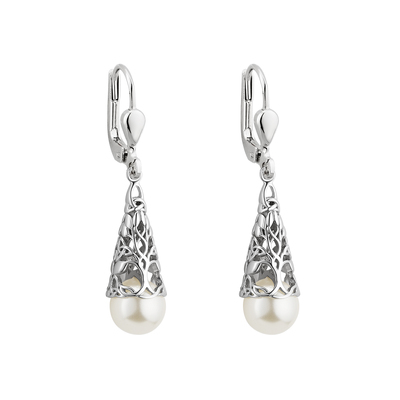 S/S GLASS PEARL TREE OF LIFE DROP EARRINGS
