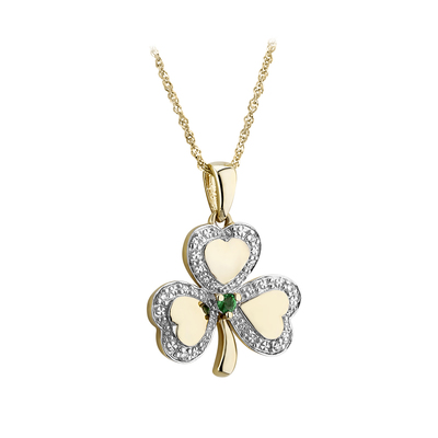 10K DIAMOND & EMERALD SHAMROCK PENDANT