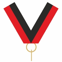 10mm Medal Ribbon with Clip (Black & Red)