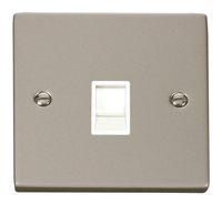 Click Deco Victorian Pearl Nickel with White Insert Single RJ11 Socket | LV0101.0143