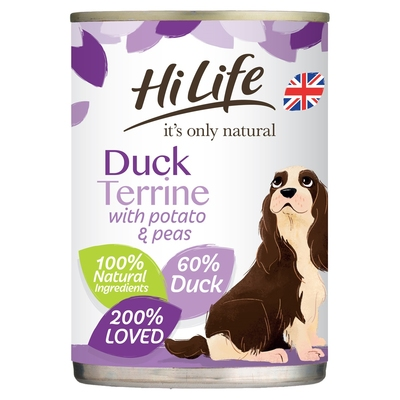 HiLife 'ION' Dog Can Duck Terrine with Potato & Peas 395g x 6