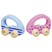 Wooden push & roll toddler toy cars - pink and blue