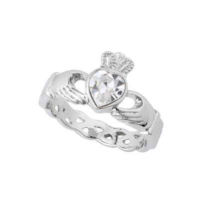 RHODIUM PLATED WHITE CRYSTAL CLADDAGH RING